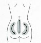 背骨を下から上へ。 腰骨(骨盤のまわり)をさするように。
